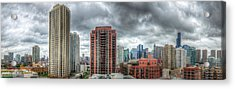 Chicago Skyline - Sears Tower 6 Shot Panorama Acrylic Print by Michael  Bennett