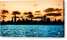Chicago Skyline Silhouette Acrylic Print by Semmick Photo