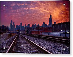 Chicago Skyline Sunrise December 1 2013 02 Acrylic Print