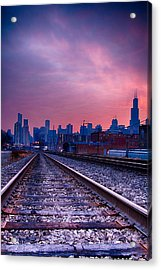 Chicago Skyline Sunrise December 1 2013 Acrylic Print
