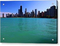 Chicago Skyline Teal Water Acrylic Print