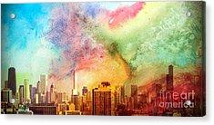 Chicago Skyline Watercolor Sky Acrylic Print