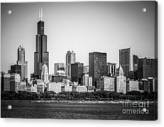 Chicago Skyline With Sears Tower In Black And White Acrylic Print by Paul Velgos