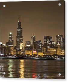 Acrylic Print featuring the photograph Chicago Skyline - World Aids Day 12/1/12 by Peter Ciro