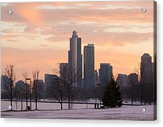 Chicago Skyscrapers In Sunset Acrylic Print
