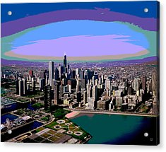Chicago Sunset Acrylic Print by Charles Shoup