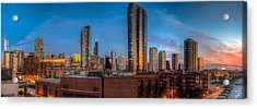 Chicago Sunset Photogtaphy Acrylic Print by Michael  Bennett
