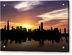 Chicago Sunset Skyline  Acrylic Print by Aged Pixel