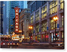 Chicago Theater At Dusk Acrylic Print by Rainer Grosskopf