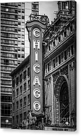 Chicago Theater Sign In Black And White Acrylic Print