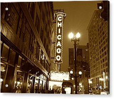 Acrylic Print featuring the photograph Chicago Theatre by Alan Lakin