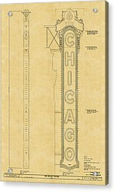 Chicago Theatre Blueprint Acrylic Print