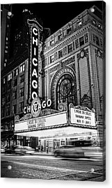 Chicago Theatre Marquee Sign At Night Black And White Acrylic Print