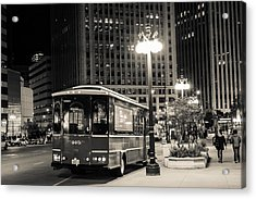 Chicago Trolly Stop Acrylic Print by Melinda Ledsome