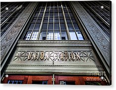 Chicago Union Station Sign And Entrance Acrylic Print by Paul Velgos