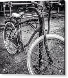Locked Bike In Downtown Chicago Acrylic Print by Paul Velgos