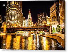 Chicago Wabash Avenue Bridge At Night Picture Acrylic Print by Paul Velgos