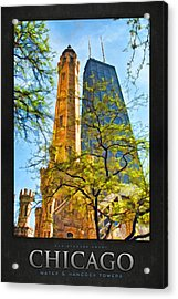 Chicago Water And Hancock Towers Poster Acrylic Print by Christopher Arndt