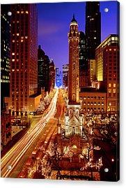 Chicago Water Tower At Night, Michigan Acrylic Print