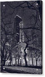 Chicago Water Tower Dusk B W Acrylic Print