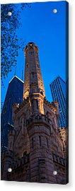 Chicago Water Tower Panorama Acrylic Print by Steve Gadomski