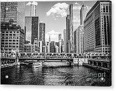 Chicago Wells Street Bridge Black And White Picture Acrylic Print