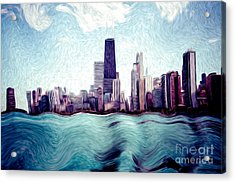Chicago Windy City Digital Art Painting Acrylic Print by Paul Velgos
