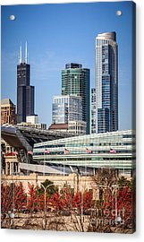 Chicago With Soldier Field And Sears Tower Acrylic Print by Paul Velgos