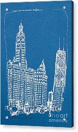 Chicago Wrigley And Hancock Bldgs Silkscreen Print Acrylic Print