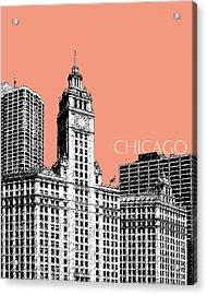 Chicago Wrigley Building - Salmon Acrylic Print by DB Artist
