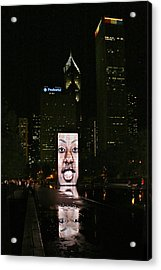 Chicago's Crown Fountain At Night Acrylic Print