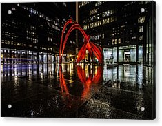 Chicago's Red Flamingo On A Rainy Night Acrylic Print