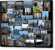 Chicago's Sears Willis Tower Collage Acrylic Print by Thomas Woolworth