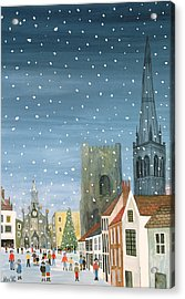 Chichester Cathedral A Snow Scene Acrylic Print
