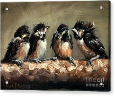 Chickadee Chicks Acrylic Print by Lisa Phillips Owens