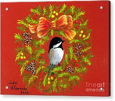 Acrylic Print featuring the painting Chickadee Holiday Greeting Card by Judy Filarecki