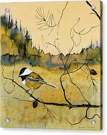 Chickadee In Dancing Pine Acrylic Print by Carolyn Doe