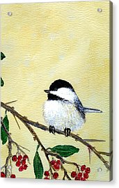 Chickadee Set 4 - Bird 2 - Red Berries Acrylic Print