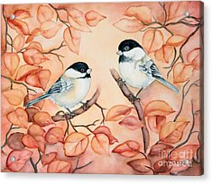 Chickadees Acrylic Print by Inese Poga