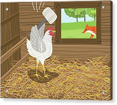 Chicken With A Mallet Waits For  A Fox Acrylic Print by Diane Labombarbe