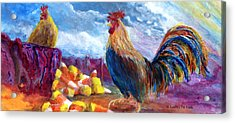 Chickens And Candy Corn Acrylic Print