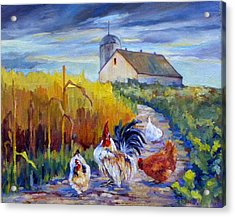 Chickens In The Cornfield Acrylic Print by Peggy Wilson