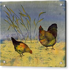 Chickens On Silk Acrylic Print by Carolyn Doe