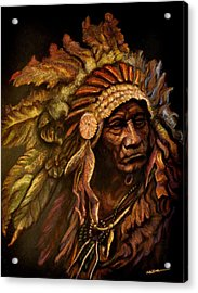 Chief Dark Horse Acrylic Print by Wade Starr