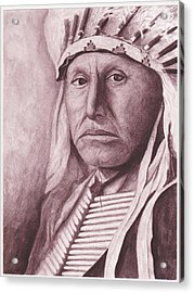 Chief Red Tomahawk Acrylic Print by Billie Bowles