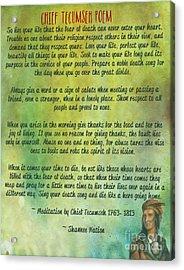 Chief Tecumseh Poem - Live Your Life Acrylic Print