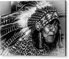 Chiefess Headress Acrylic Print by Michael Canning