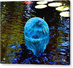 Artsy Blue Glass Float Acrylic Print by Luther Fine Art