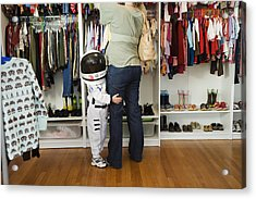 Child (4-5 Yeras) Wearing Space Costume Hugging Mother's Leg In Shop Acrylic Print by Inti St. Clair
