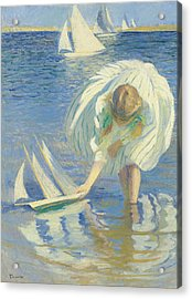 Child And Boat Acrylic Print